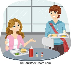 Teen Couple College Share Cafeteria Table