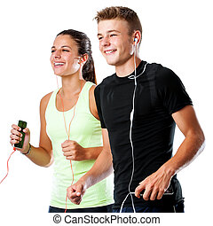 Teen couple doing fitness workout together.