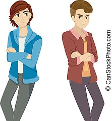 Illustration Featuring a Gay Teenage Couple Ignoring Each Other Following Their Break Up