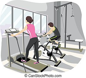 Teen Couple Gym Workout - Illustration of a Teenage Couple...