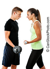 Teen couple having fitness challenge.