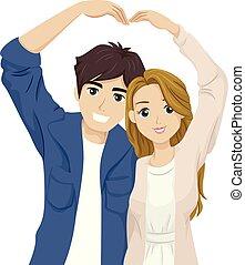 Teen Couple Heart Pose Illustration