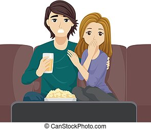 Teen Couple Movie Night Illustration