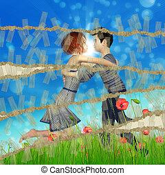 Teen couple on grass field