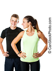 Teen couple ready for fitness workout.