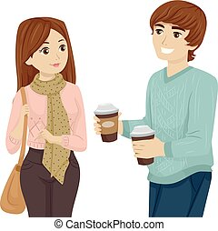 Teen Couple Students Coffee - Illustration Featuring a Young...