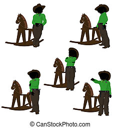Teen Cowboy Illustration - Teen cowboy with a rocking wooden...