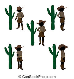 Teen Cowgirl Illustration - Teen cowgirl with a cactus on a...
