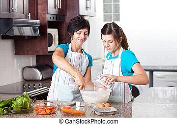 teen daughter helping mother baking