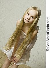 teen dziewczyna, fason modelują, z, długi, blond włos, -, naturalne piękno