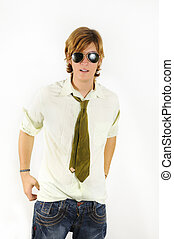 Teen fashion model - Portrait of young trendy man wearing a...