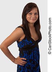 Teen fashion - Attractive brunette aboriginal teen smiling...