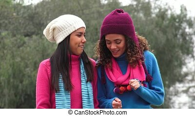 Teen Female  Friends Cold Weather