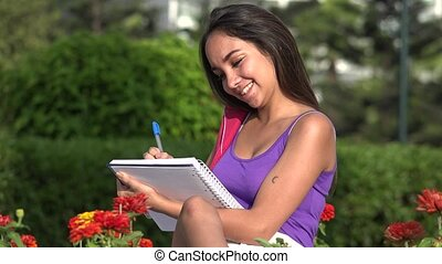 Teen Female Student Studying And Thinking