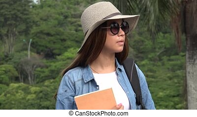 Teen Female Student Wearing Sunglasses