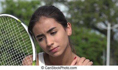 Teen Female Tennis Player And Soreness