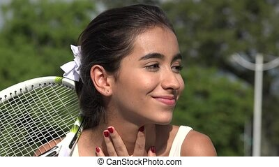 Teen Female Tennis Player Daydreaming Or Wondering