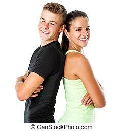 Teen fitness couple.