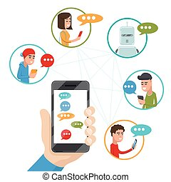 Teen friends chat on phone. Vector friendly discussing messaging smartphone in flat style