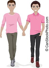 Teen Gay Couple Hold Hands Illustration