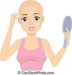 Teen Girl Alopecia Mirror Happy Illustration