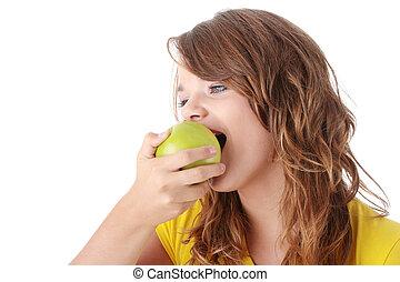 Teen girl and apple