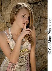 Teen Girl And Silence