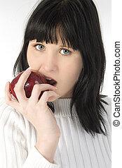 Teen Girl Apple Eat