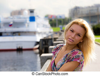teen girl at harbour