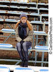 Teen girl at the stadium