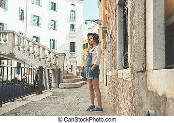 teen girl at the venice. Italy