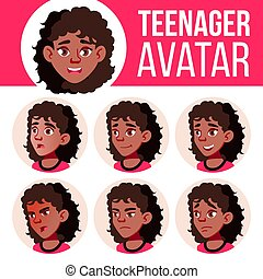Teen Girl Avatar Set Vector. Black. Afro American. Face Emotions. Children, Young People. Life, Emotional. Cartoon Head Illustration