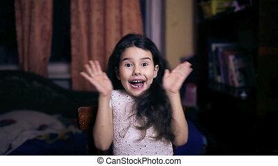 teen girl baby surprise joy emotions six years brunette -...