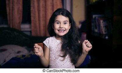 teen girl baby surprise joy gesture yes emotions six years...