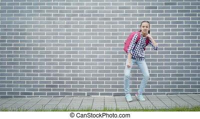 Teen girl back to school - Teen girl with backpack go to...