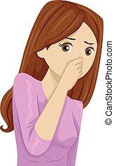 Teen Girl Bad Odor Pinch Nose