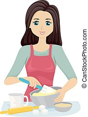 Teen Girl Baking Illustration