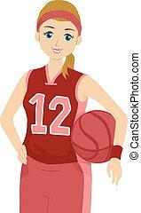 Teen Girl Basketball Player Jersey Pose