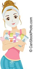 Teen Girl Beauty Products Illustration - Illustration of a...