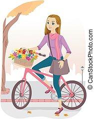 Teen Girl Bike Basket Flowers