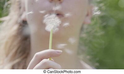 teen girl blowing white dandelion to the camera on sunny day...