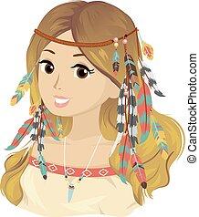 Teen Girl Bohemian Hair Feathers