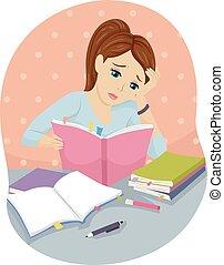 Teen Girl Books Study Hard