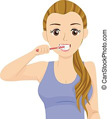Teen Girl Brush Teeth Illustration