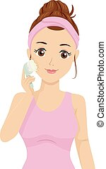 Teen Girl Brush Wash Face Skin Care Illustration