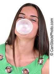 Teen Girl Bubblegum - Teen girl blowing bubble. Shot with...