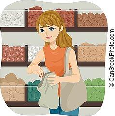 Illustration of a Teenage Girl Placing Food Inside Her Shopping Bag in a Bulk Shop