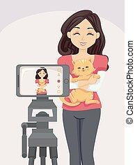 Teen Girl Cat Camera Vlogging Illustration