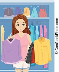 Teen Girl Choose Clothes Illustration