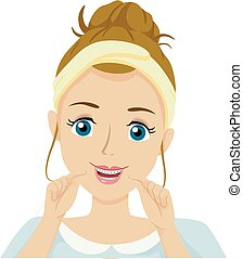 Teen Girl Clean Braces Floss Illustration